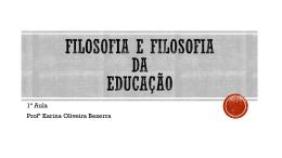 Filosofia e filosofia da educação