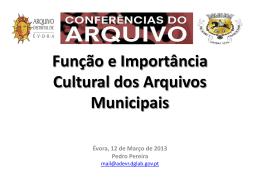 Função e Importância dos Arquivos Municipais - pt
