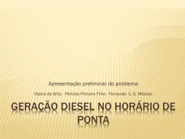 GERAÇÃO DIESEL NO HORÁRIO DE PONTA