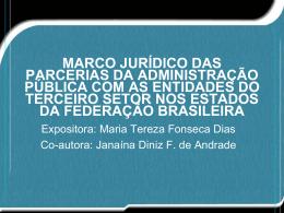 marco jurídico das parcerias da administração pública com as