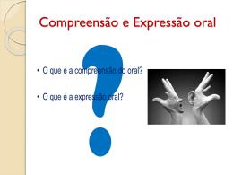 Compreensão e Expressão oral