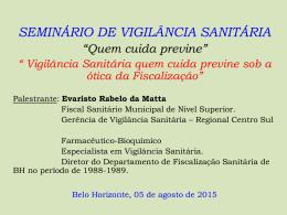 SEMINÁRIO DE VIGILÂNCIA SANITÁRIA