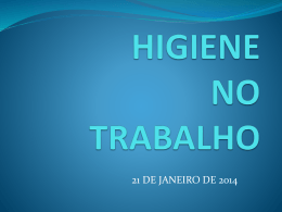 HIGIENE NO TRABALHO