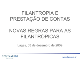 NOVAS REGRAS PARA AS FILANTRÓPICAS