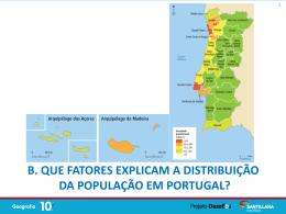 Fatores de distribuição da população em Portugal