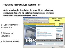 TROCA DO RESPONSÁVEL TÉCNICO * RT Após