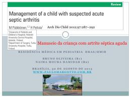 Manuseio da criança com artrite séptica aguda