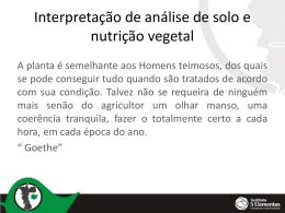 [Apresentação] – Interpretação de análise de solo e nutrição vegetal