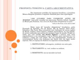 proposta temática: carta argumentativa