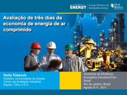 Avaliação de três dias da economia de energia de ar comprimido
