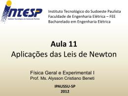 F1 Aula 11 Aplicações das Leis de Newton