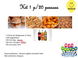 Kit 1 p/20 pessoas