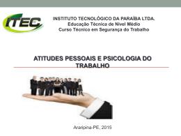 aula atitude pessoal e psicologia do trabalho