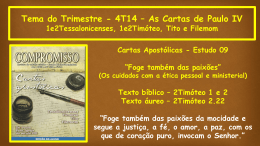 Tema do Trimestre - 4T14 – As Cartas de Paulo