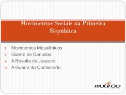 Movimentos Sociais na Primeira República