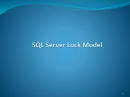 SQL Server Lock Model