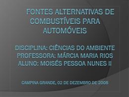 Fontes alternativas de combustíveis para automóveis
