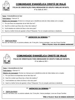Slide 1 - Comunidade Evangélica Cristã de Vila da Penha