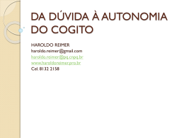 POR MEIO DA DÚVIDA À AUTONOMIA DO COGITO