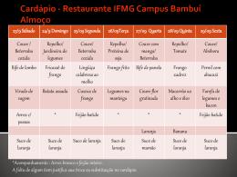 Cardápio - Portal do IFMG