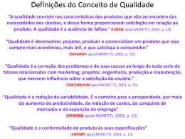 Definições do Conceito de Qualidade