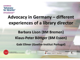 Advocacy in Germany - different experiences of a - Goethe