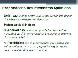 Propriedade dos Elementos Químicos