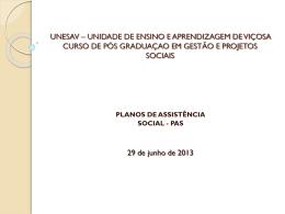 Apresentação aula Plano de Assistencia Social