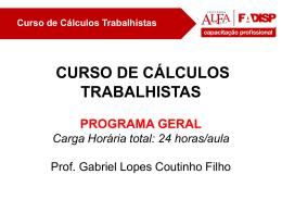 Curso de Cálculos Trabalhistas Conteúdo Programático