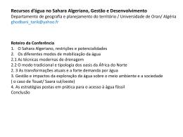 Conferência:Recursos d`água no Sahara Algeriano, Gestão e
