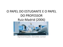 Papel do estud. X Papel do prof. (apres.)