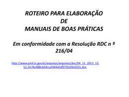 AULA_1_ROTEIRO PARA ELABORAÇÃO MBPF RDC216