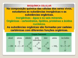 BIOQUÍMICA CELULAR Na composição química das