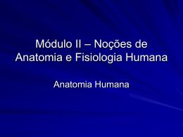 Módulo I * Noções de Anatomia e Fisiologia Humana