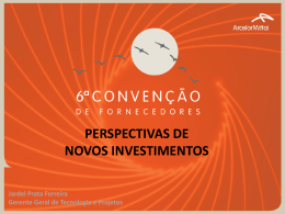 Palestra 03: Perspectivas de Novos Investimentos