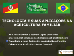TECNOLOGIA E SUAS APLICAÇÕES NA AGRICULTURA FAMILIAR