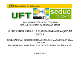 Universidade Federal do Tocantins Escola de Gestores da
