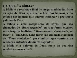 1) O QUE É A BÍBLIA?