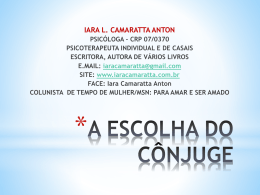 A ESCOLHA DO CÔNJUGE – curso – power point
