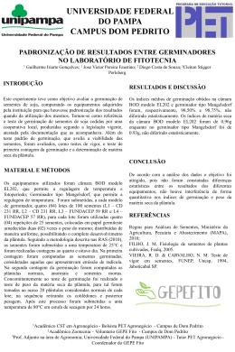 PADRONIZAÇÃO DE RESULTADOS ENTRE GERMINADORES NO