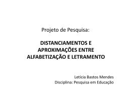 Projeto de Pesquisa: - Pesquisa em Educação