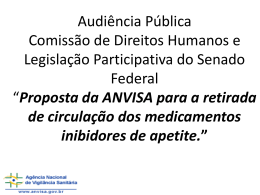 Proposta da Anvisa para a retirada de circulação dos medicamentos