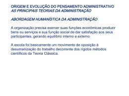 capítulo ii - origem e evolução do pensamento administrativo as