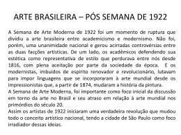 ARTE BRASILEIRA * PÓS SEMANA DE 1922