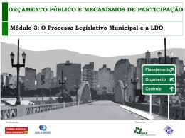 Módulo III – O Processo Legislativo Municipal e a LDO