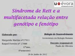 O que é a Síndrome de Rett? - Biologia do Desenvolvimento 2012