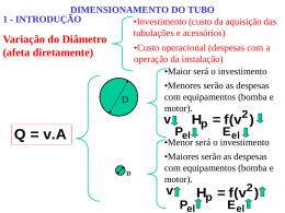 Dimensionamento da tubulação