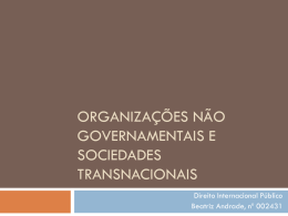 Organizações não governamentais e Sociedades transnacionais