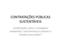 CONTRATAÇÕES PÚBLICAS SUSTENTÁVEIS