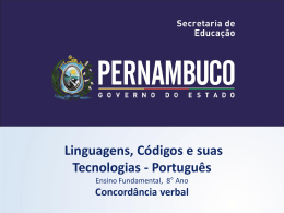 Concordância verbal - Governo do Estado de Pernambuco